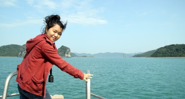 huyen chip in Ha Long bay